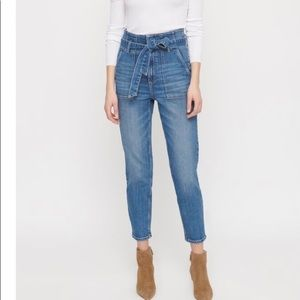 Ultra high rise ankle jeans with belt